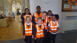 Gainsborough Primary School children proudly wearing their high visibility vests