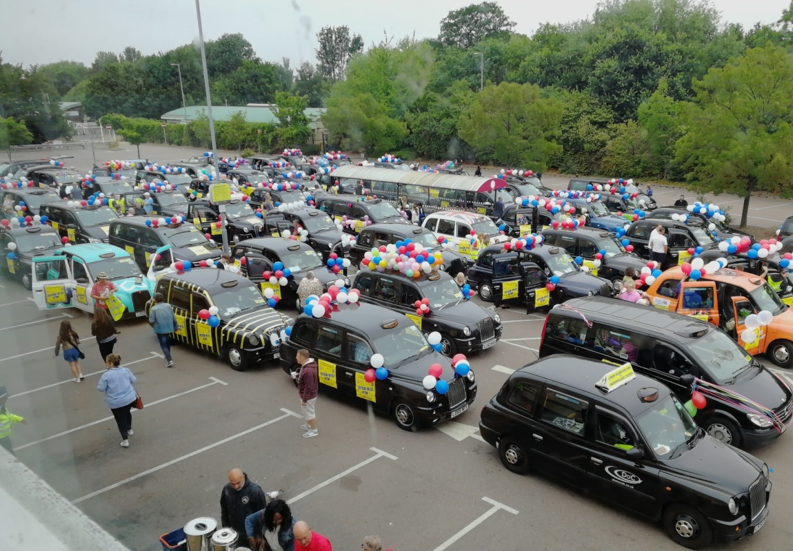 Taxis ready to leave at Southend 2018